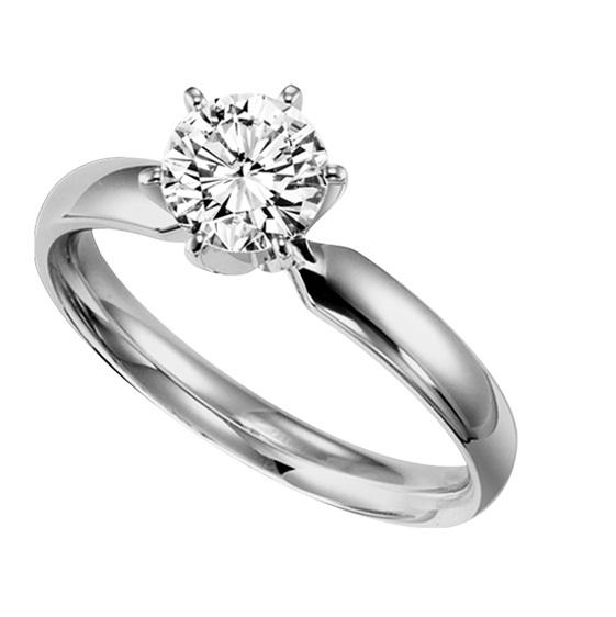 1 ct Round Cut Diamond Solitaire Engagement Ring in 14K White Gold /5621E