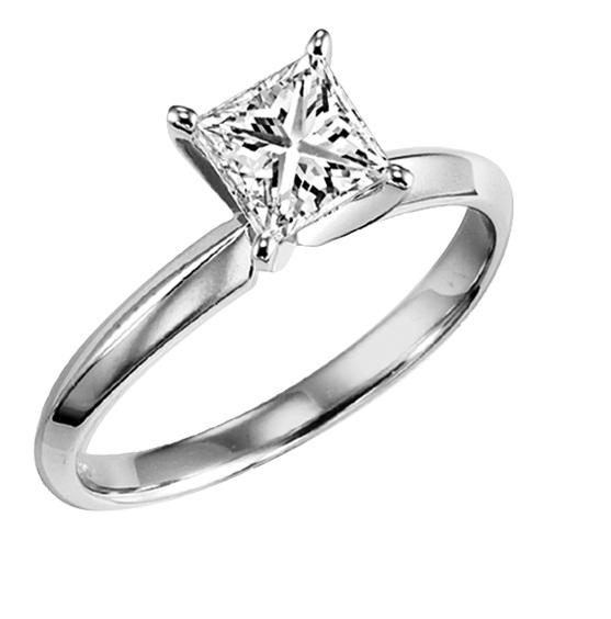 3/4 ct Princess Cut Diamond Solitaire Engagement Ring in 14K White Gold / 5623E