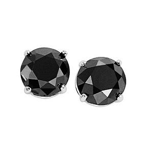 2 ctw Black Diamond Solitaire Earrings in 10K White Gold /BSE6200