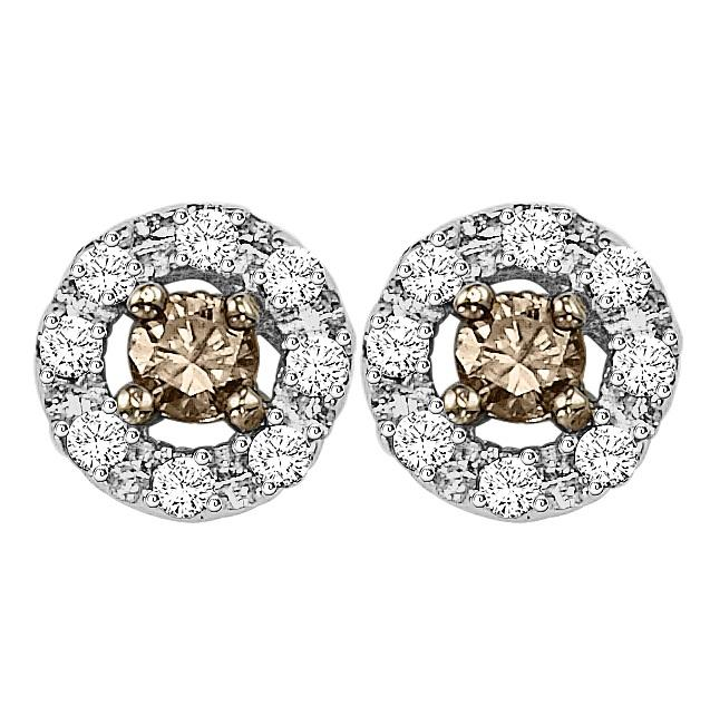 Silver Brown Diamond Earrings 1/3 ctw / FE1174