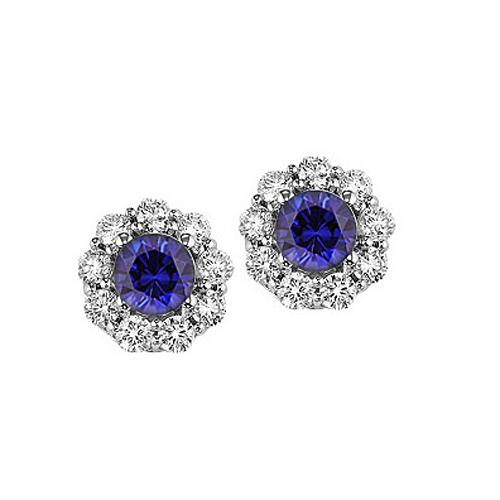 Sapphire & Diamond Earrings in 14K White Gold
