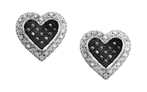 1/4 ctw Black & White Diamond Earrings in Sterling Silver / FE4071