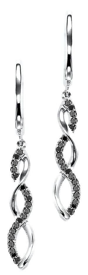 Silver & Black Diamond Earrings/FE4078