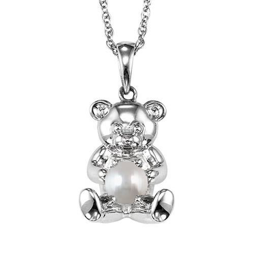 Silver Pearl Birthstone Pendant