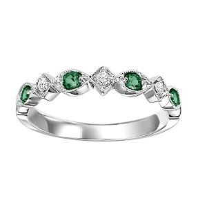 Emerald & Diamond Ring in 10K White Gold /FR1028