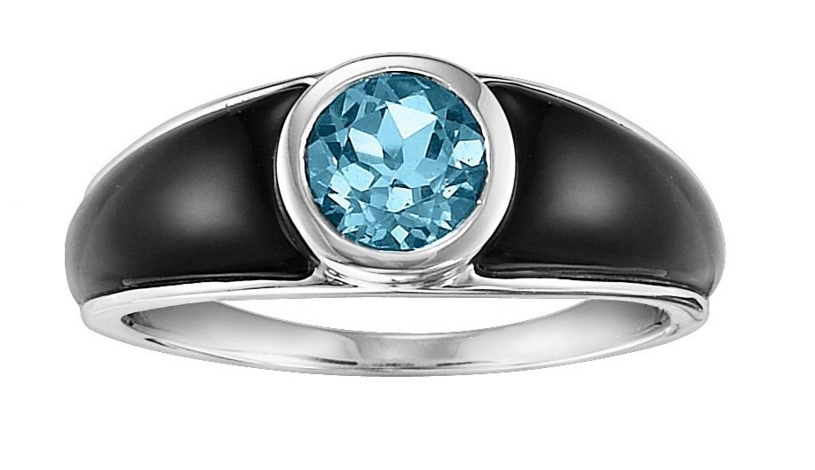 Blue Topaz and Black Onyx Ring in Sterling Silver /FR1305