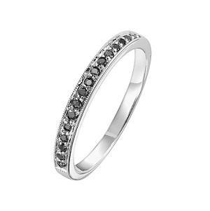 Black Diamond Ring in 10K White Gold / FR1307
