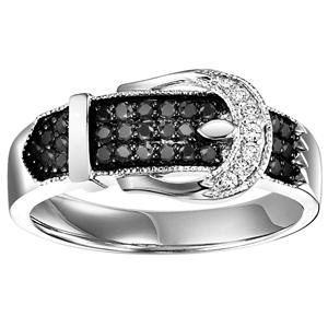 Silver  Black Diamond Band 1/3 ctw / FR1381