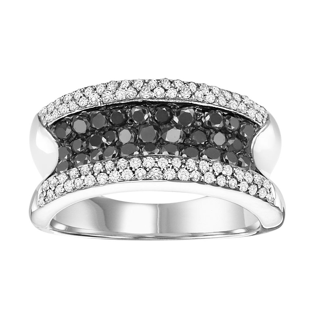 Silver Black Diamond Band 1 ctw / FR1383