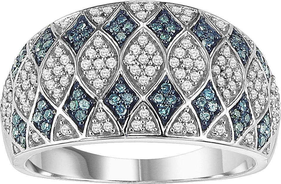 White Gold Blue and White Diamond Ring 1/2 ctw:  FR1400