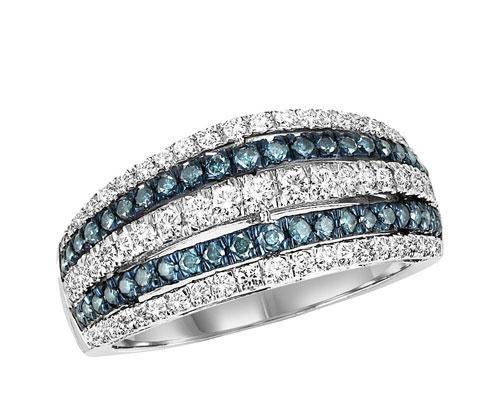 Gold Blue & White Diamond Ring 1ctw/FR1407