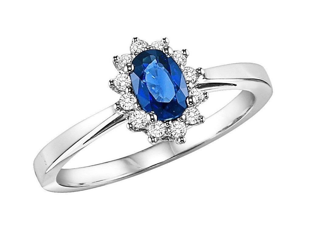 Sapphire & Diamond Ring in 14K White Gold /FR4063