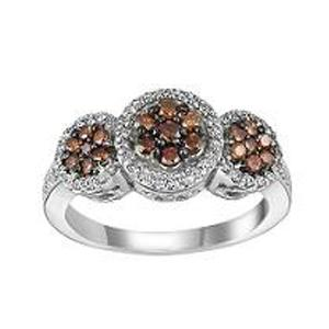 5/8 ctw Brown & White Diamond Ring in 14K White Gold / FR4081