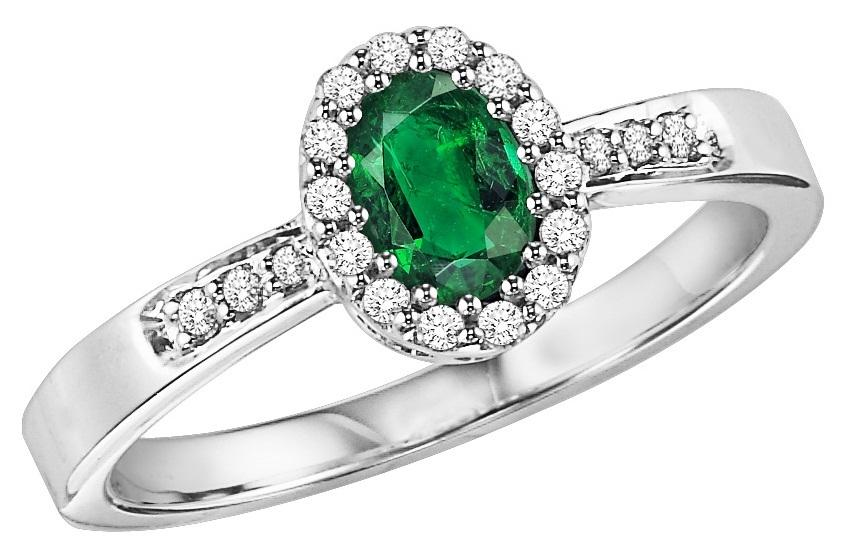 Emerald & Diamond Ring in 14K White Gold /HDR1419EWB