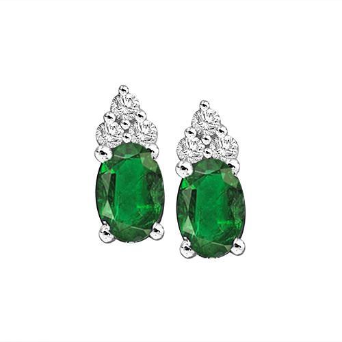 Emerald & Diamond Earrings in 14K White Gold