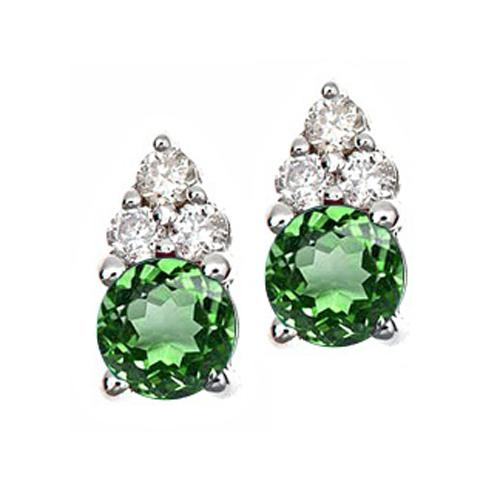 Emerald & Diamond Earrings set in 14K Gold