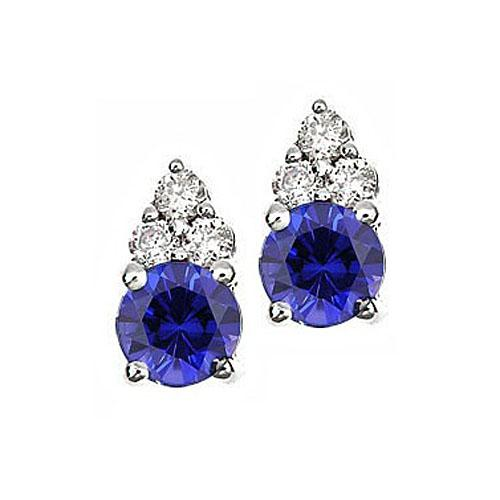 Sapphire & Diamond  Earrings set in 14K Gold