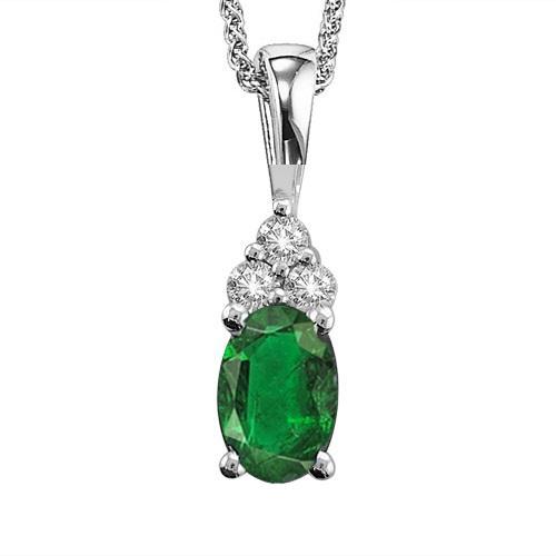 Emerald & Diamond Pendant in 14K White Gold
