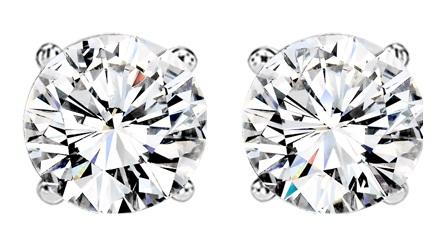 3/4 ctw Diamond Solitaire Earrings in 14K White Gold / SE3070FW