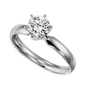 3/4 ct Round Cut Diamond Solitaire Engagement Ring in 14K White Gold / SRBF70