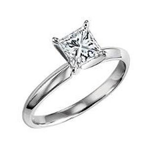 1/2 ct Princess Cut Diamond Solitaire Engagement Ring in 14K White Gold/SRBFP50
