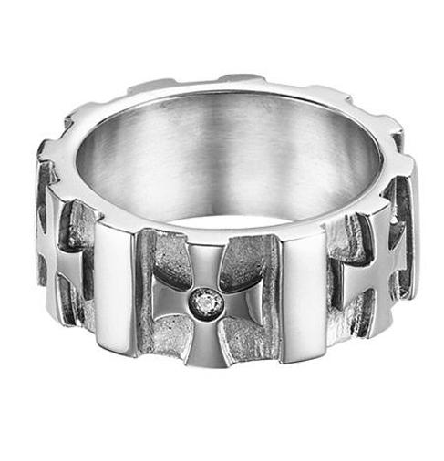 Men's Diamond Ring in Stainless Steel/TS1034