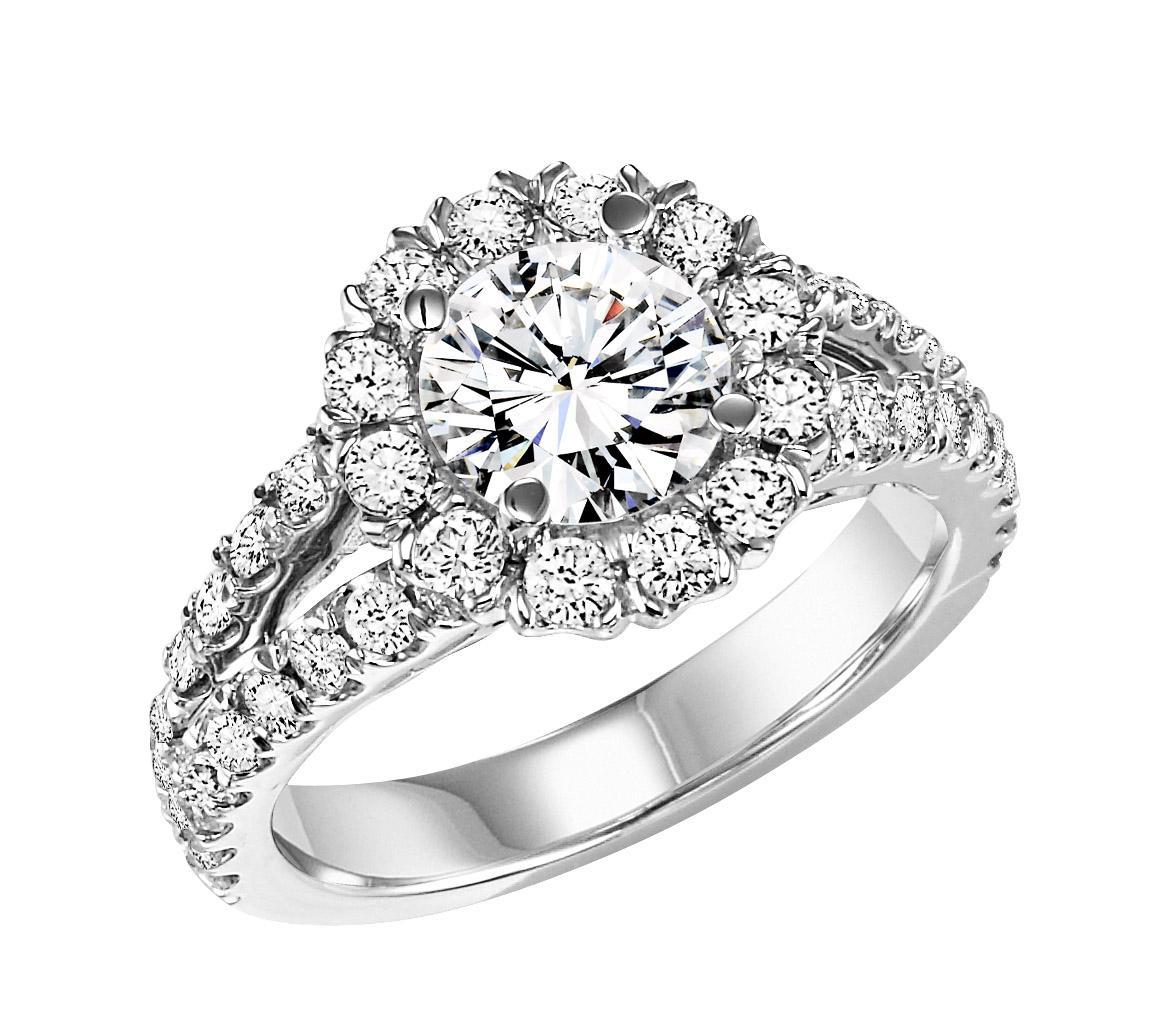 14K White Gold Diamond Semi Mount  ring 1 1/7 ctw : WB5804E- Semi