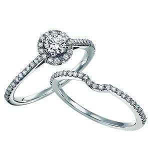 Gold Diamond Engagement Ring Set 1/2 ctw / WB5600E&W