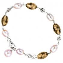 Freshwater Pearl & Smoky Quartz Bracelet in Sterling Silver/747SBO1