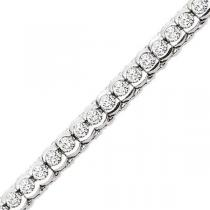 14K White Gold 5 ctw Diamond Bracelet. / B209- 5ct