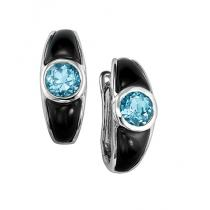 Blue Topaz and Black Onyx Earrings in Sterling Silver / FE1115