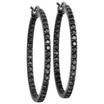 2 ctw Black Diamond Earrings in 14k White Gold /FE1123