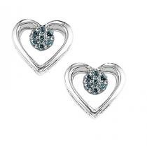 Blue Diamond Earrings in Sterling Silver / FE1124