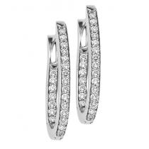 Silver Diamond Earrings 1 ctw/ FE1176