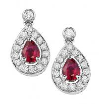 Ruby & Diamond Earrings in 14K White Gold /FE4015RWB