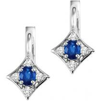 Sapphire & Diamond Earrings in 14K White Gold / FE4031