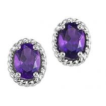 Amethyst Earrings in 10K White Gold / FE4032