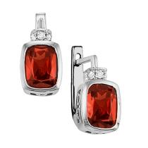 Garnet & Diamond Earrings in 10K White Gold / FE4035