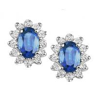 Sapphire & Diamond Earrings in 14K White Gold / FE4063