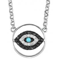 Silver Diamond & Turquoise Pendant/FP1284