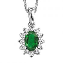 Emerald & Diamond Pendant in 14K White Gold