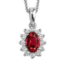 Ruby & Diamond Pendant in 14K White Gold