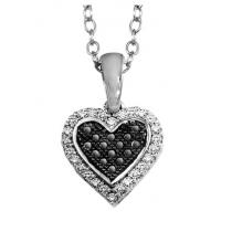 Silver 1/7 ctw Black and White Diamond Pendant / FP4071