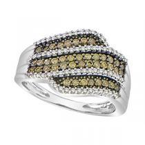 1/2 ctw Brown & White Diamond Ring in 10K White Gold / FR1330