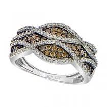 1/2 ctw Brown & White Diamond Ring in 10K White Gold / FR1332