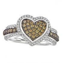 3/8 ctw Brown & White Diamond Ring in 10K White Gold / FR1333