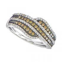 3/8 ctw Brown & White Diamond Ring in 10K White Gold / FR1334