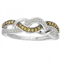 1/5 ctw Brown & White Diamond Ring in 10K White Gold / FR1335