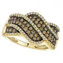 5/8 ctw Brown & White Diamond Ring in 14K Yellow Gold / FR1336