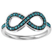 Silver & Blue Diamond Infinity Ring 1/4 ctw :  FR1384